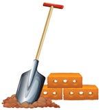 A shovel and bricks. Illustration of a shovel and bricks on a white background stock illustration