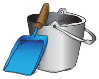 Shovel and bucket garbage Royalty Free Stock Image