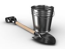 Shovel and bucket on white background Stock Image