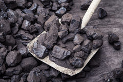 Shovel and coal Royalty Free Stock Photos