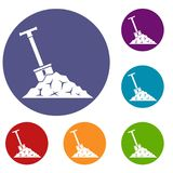 Shovel in coal icons set Royalty Free Stock Photos