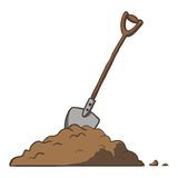 Shovel in dirt. Vector cartoon freehand Stock Photos