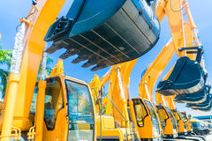 Shovel excavator on Asian machinery  rental company Stock Images