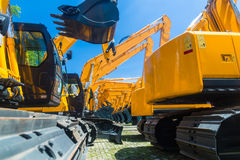 Shovel excavator on Asian machinery  rental company Royalty Free Stock Image