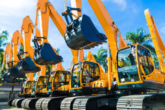 Shovel excavator on Asian  rental company site Royalty Free Stock Images