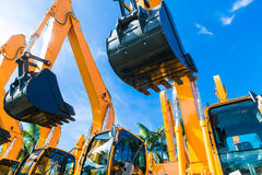 Shovel excavator on Asian  rental company site Royalty Free Stock Photos