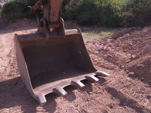 Shovel excavator. Detail of a blade of a bulldozer Royalty Free Stock Image