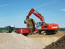 Shovel excavator in action. stock image