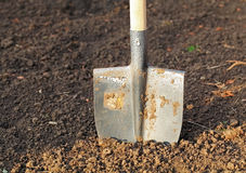 Shovel in field Royalty Free Stock Photos