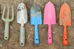 Shovel and fork for gardening on soil background Royalty Free Stock Photo