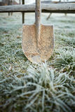Shovel on frozen lawn Royalty Free Stock Photo