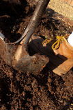 A Shovel going into the ground Royalty Free Stock Image