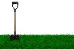 Shovel on grass. garden tool. Isolated 3D image Stock Photo