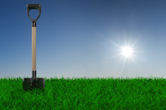 Shovel on grass. garden tool. 3D image Royalty Free Stock Images