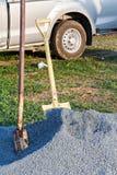 Shovel on gravel Stock Photography