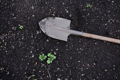 Shovel on the ground Stock Images