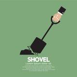 Shovel In Hand. Vector Illustration royalty free illustration