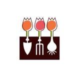 Shovel, hayfork, bulb and flowers garden tools company logo. Shovel, hayfork, bulb and tulips flowers garden tools company logo Stock Photo