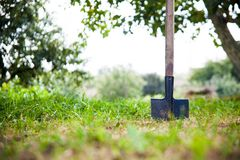 Shovel in the heap of ground Royalty Free Stock Photography