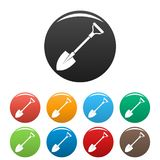 Shovel icons set color. Shovel icons set 9 color vector isolated on white for any design royalty free illustration