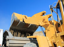 Shovel loaders. Bucket truck at a construction site Royalty Free Stock Image