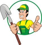 Shovel man. Cartoon green and yellow stock illustration