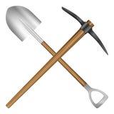 Shovel and mattock. On a white background royalty free illustration