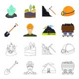 A shovel, a miner, an entrance to a mine, a trolley with coal.Mine set collection icons in cartoon,outline style vector Stock Photo
