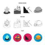 A shovel, a miner, an entrance to a mine, a trolley with coal.Mine set collection icons in flat,outline,monochrome style Stock Images