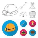 A shovel, a miner, an entrance to a mine, a trolley with coal.Mine set collection icons in outline,flat style vector Stock Photography