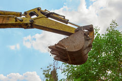 Shovel of a mini digger, blue sky and tree crown. Shovel of a mini digger, transporting soil, blue sky and tree crown royalty free stock image