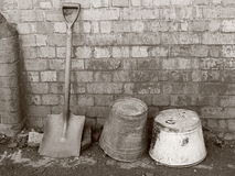 Shovel and old Buckets Monochrome Royalty Free Stock Photos
