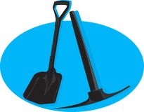 Shovel and pick axe Stock Photos