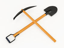 Shovel and pick, 3D Stock Images