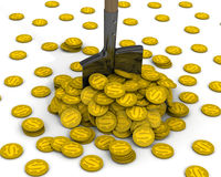 Shovel and a pile of coins with the symbol of the American dollar Royalty Free Stock Image