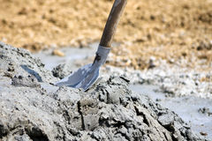 Shovel in the pile of compost Stock Photo