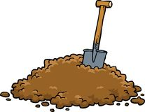 Shovel in a pile of earth. On a white background vector illustration vector illustration