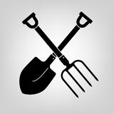 Shovel and pitchfork icon Stock Images