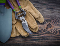 Shovel pruning shears protective gloves on wooden board gardenin Stock Images