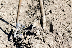 Shovel and rake Stock Photos