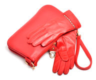 Stylish woman red bag and gloves  Royalty Free Stock Images