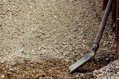 Shovel in rubble Royalty Free Stock Image