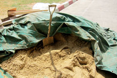 Shovel on and sand Royalty Free Stock Photos