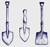 Shovel sketch Stock Images