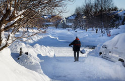 Shovel Snow Clean Up Blizzard 2016 VA Stock Photos