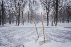 Shovel in snow on nature. 2018 nice cute white blizzard Royalty Free Stock Images