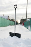 Shovel in snow, ready to removal snow Stock Photo