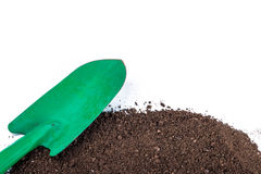 Shovel tool on soil Stock Photos