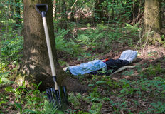 Shovel at the tree and man lying in the forest Royalty Free Stock Photos