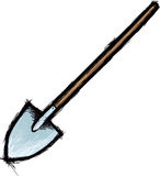 Shovel. Vector image of shovel with wooden shaft Royalty Free Stock Images